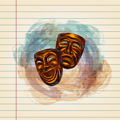 Theater Masks Drawing on Ruled Paper