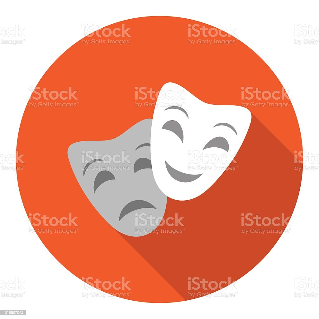Theater masks icon in flat style isolated on white background. vector art illustration