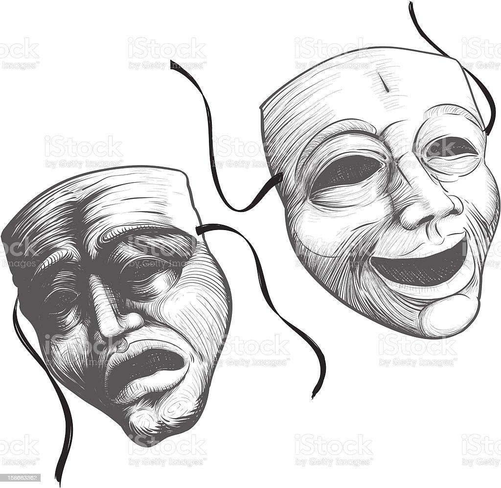 Theater masks in black and white illustration vector art illustration