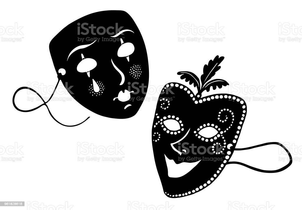Theater masks in black and white vector art illustration