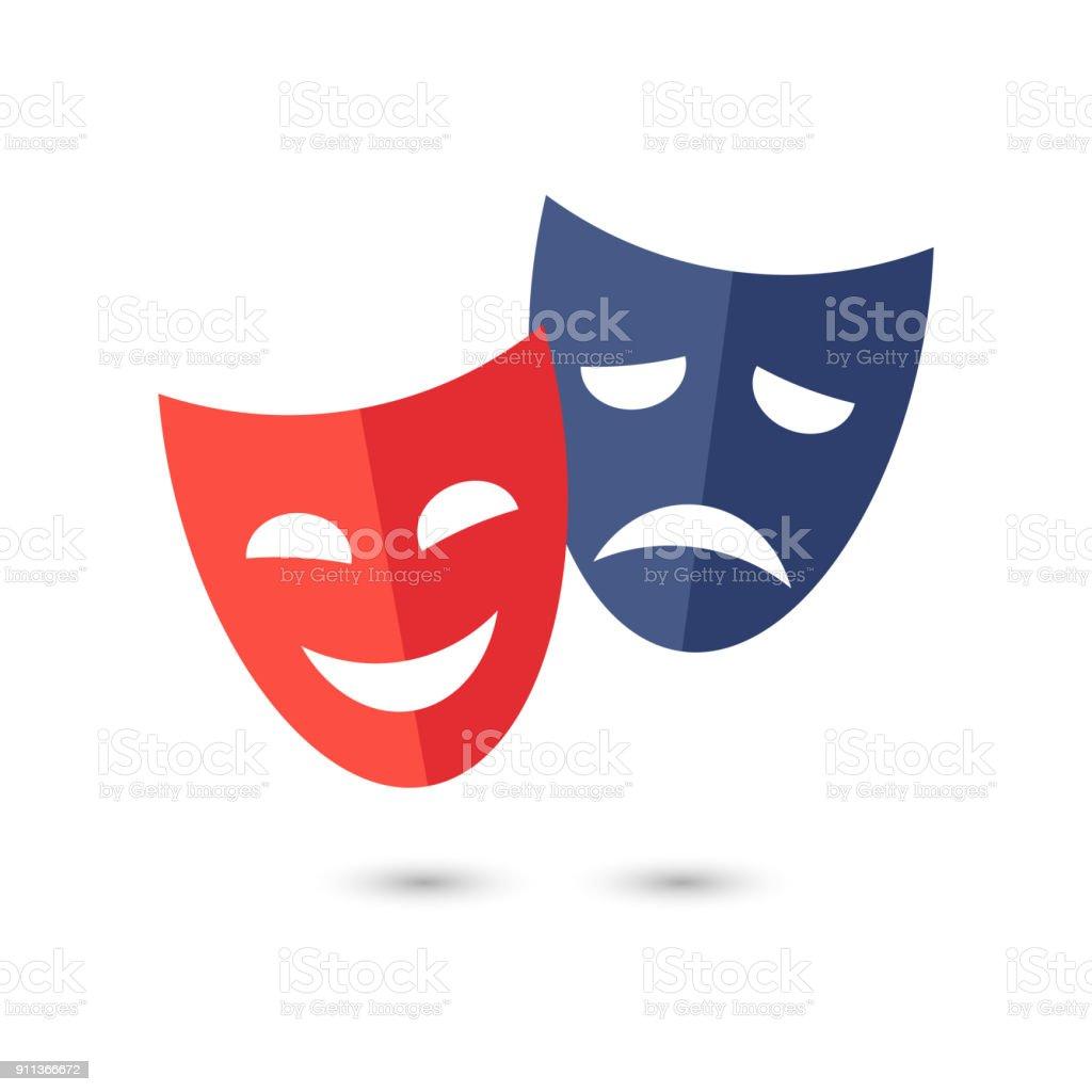 Theater masks, vector icon on white background. vector art illustration