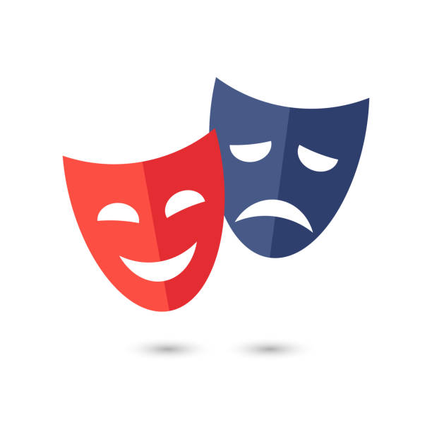 Theater masks, vector icon on white background. Funny and sad theater masks, vector icon on white background. theatrical performance stock illustrations