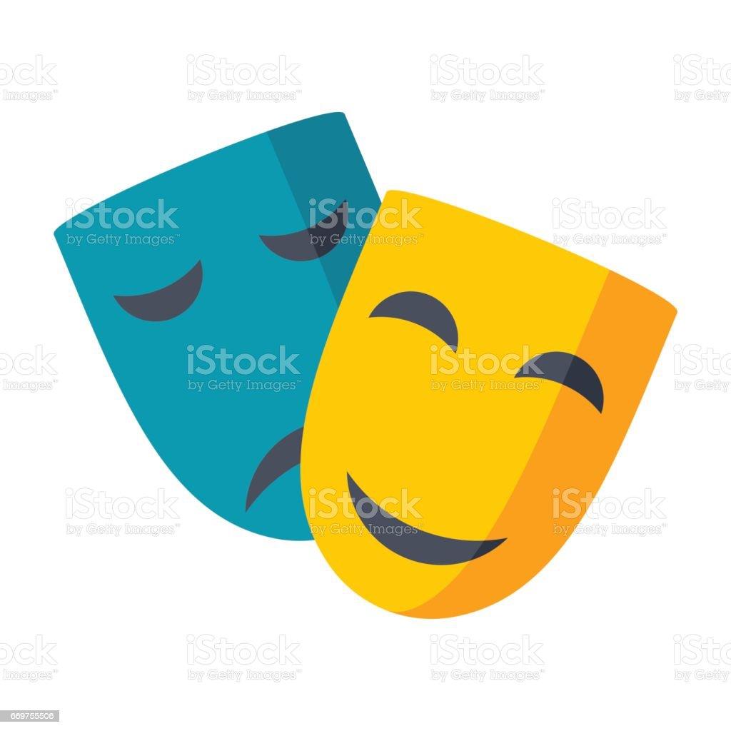 Theater Masks Vector Icon vector art illustration
