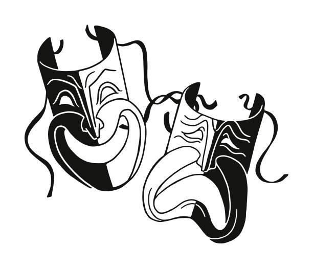 stockillustraties, clipart, cartoons en iconen met theater maskers - acteur