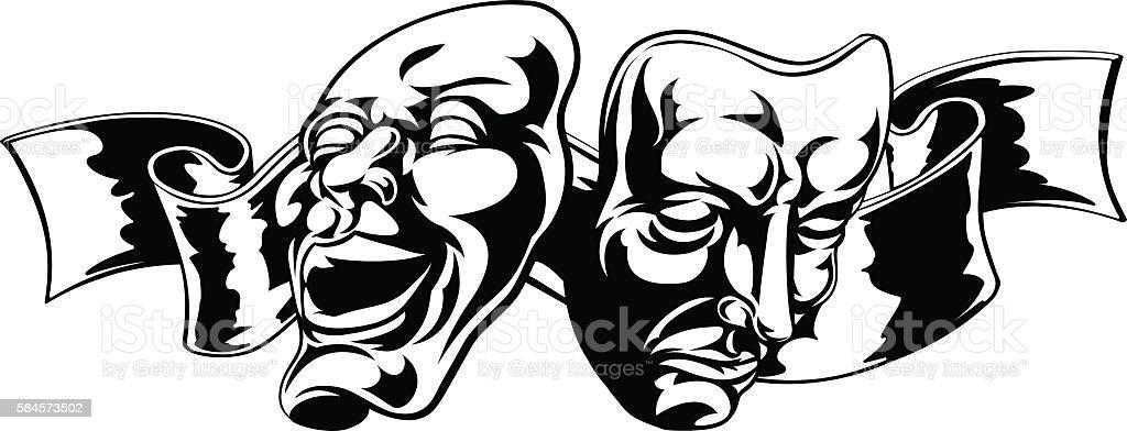 Theater Masks Vector Theatermasken Happy Sad Stock Photo