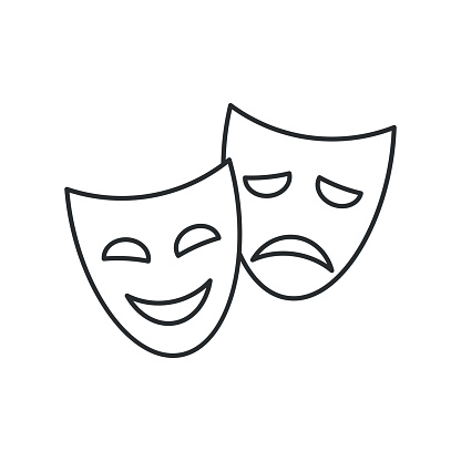 Theater masks, vector linear icon on white background.