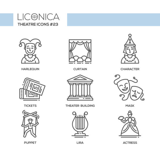 theater- modern color vector single line design icons set - kukiełka stock illustrations