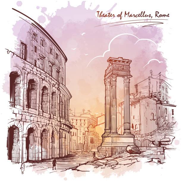 illustrations, cliparts, dessins animés et icônes de théâtre de marcellin et portique d'octavia à rome, italie. - rome