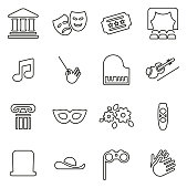 istock Theater or Opera Icons Thin Line Vector Illustration Set 868408812