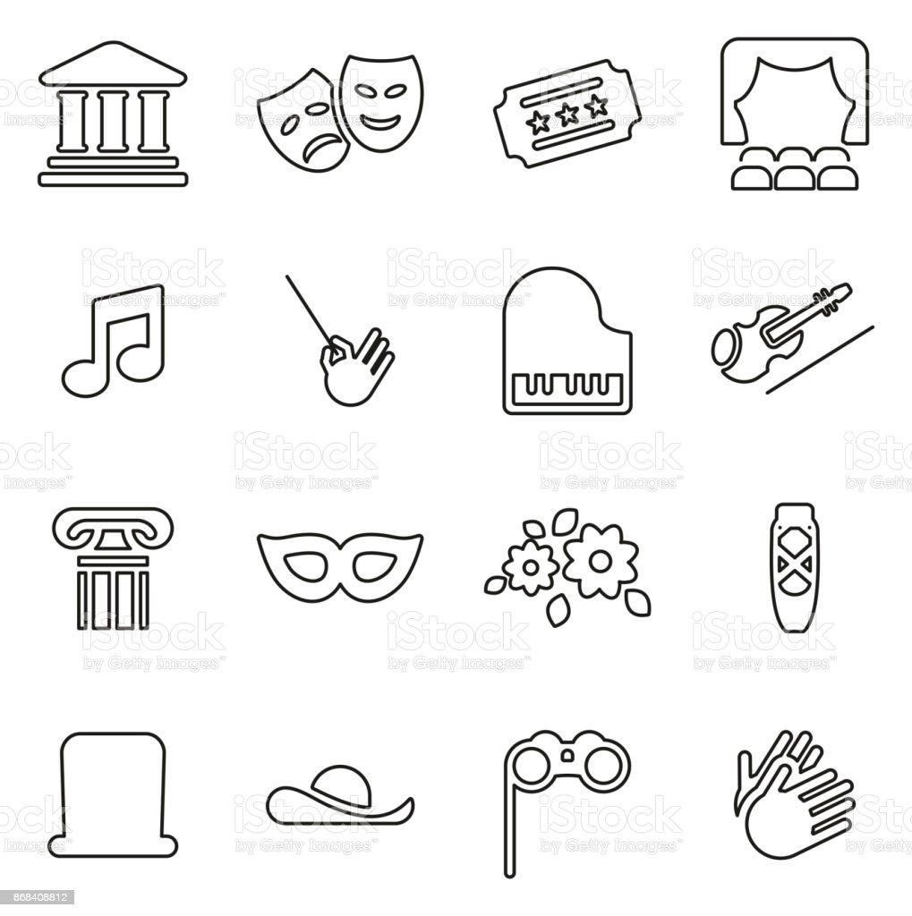 Theater or Opera Icons Thin Line Vector Illustration Set vector art illustration