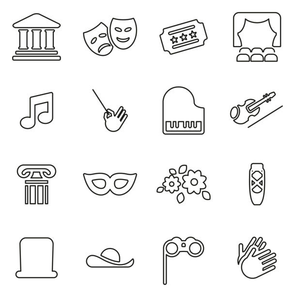 theater oder oper symbole dünne linie vektor illustration-set - bandleader stock-grafiken, -clipart, -cartoons und -symbole