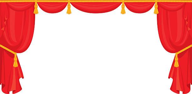 ilustrações de stock, clip art, desenhos animados e ícones de teatro de veludo vermelho cortina de palco em estilo retro, isolado - lian empty