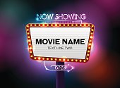 theater sign and neon light vector illustration