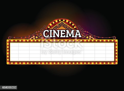 theater sign.cinema sign lasvegas sign.front outdoor vector