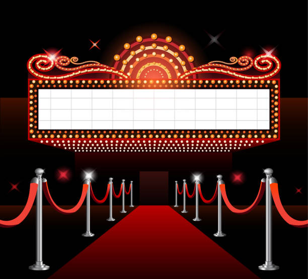 Theater sign movie premiere Theater entrance sign movie premiere red carpet premiere event stock illustrations