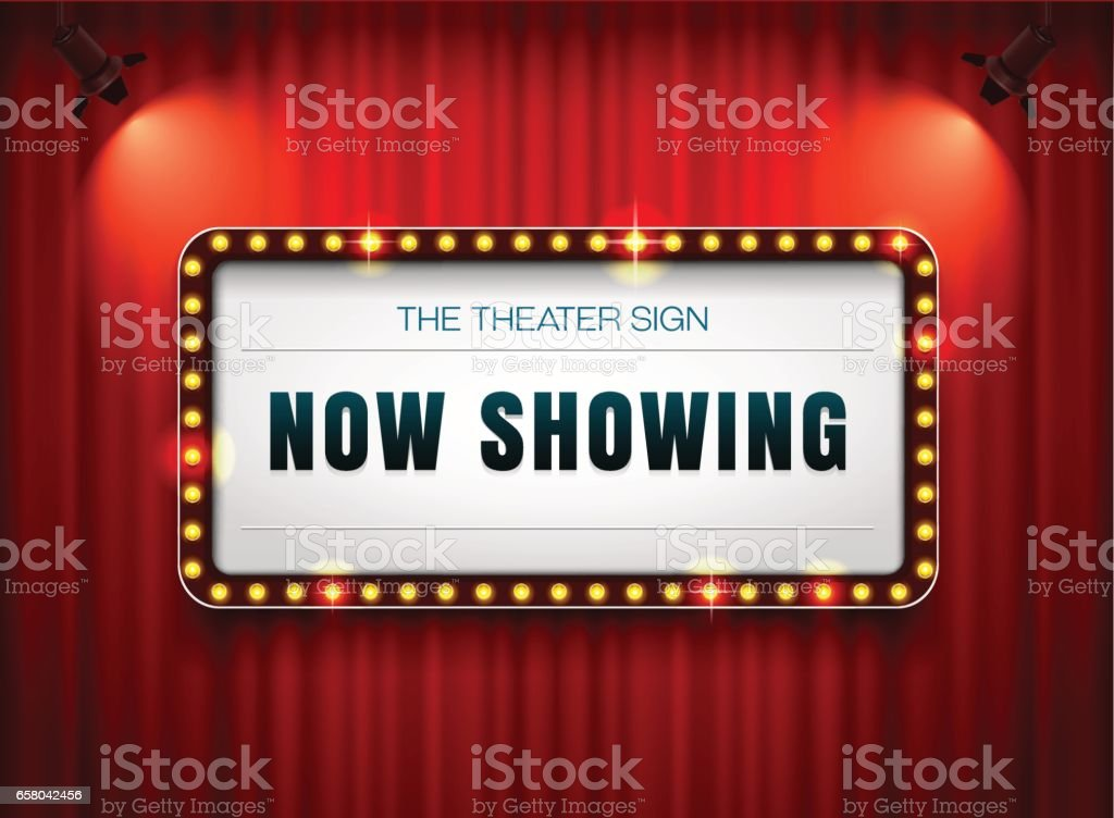 theater sign or cinema sign on curtain with spot light,frame,border vector art illustration