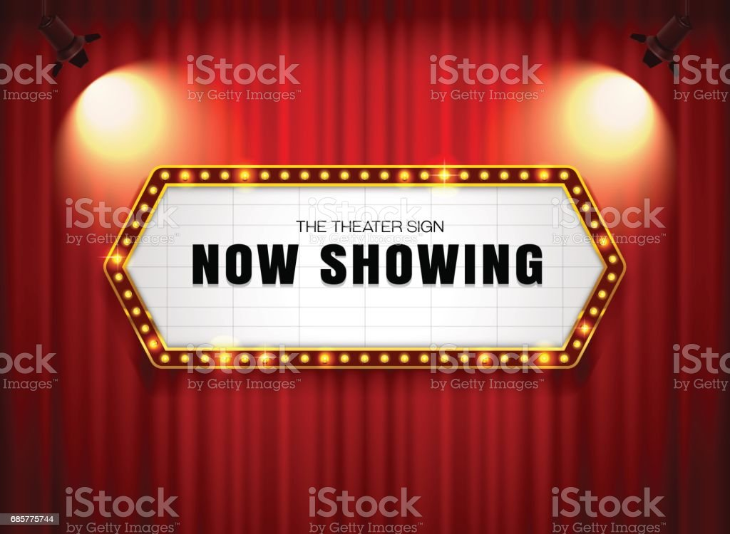 theater sign or cinema sign on curtain with spot light,frame,border royalty-free theater sign or cinema sign on curtain with spot lightframeborder stock vector art & more images of arts culture and entertainment