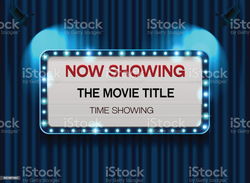 theater sign or cinema sign on curtain with spot light,frame,border