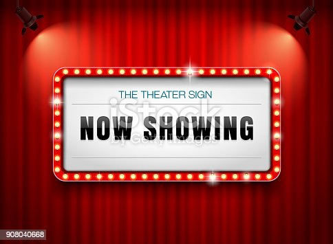 istock theater sign or cinema sign on curtain with spot light,frame,border 908040668