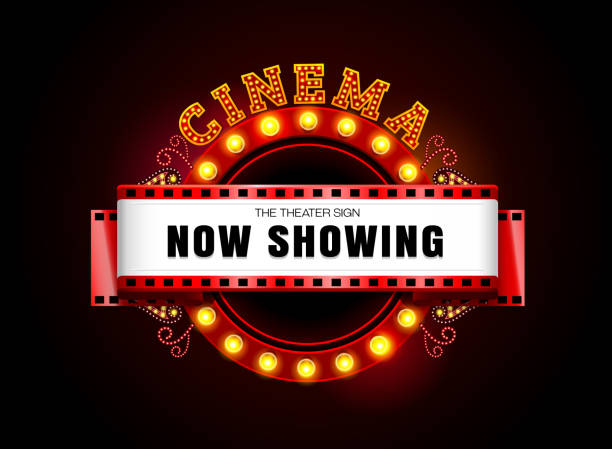 Theater sign theater glowing circle retro style cinema neon sign vector art illustration