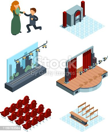 Theater stage decoration. Isometric interior of opera or ballet hall theater seats actors red curtains vector pictures. Illustration of theater stage, show entertainment performance