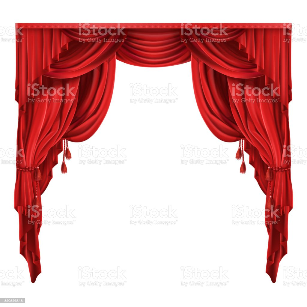 Theater stage red curtains realistic vector vector art illustration