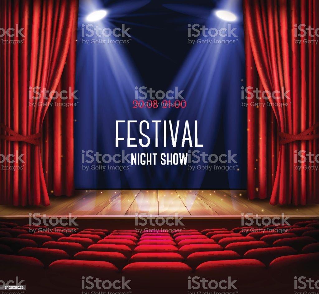 Eine Theaterbühne mit einem roten Vorhang und einem Scheinwerfer. – Vektorgrafik
