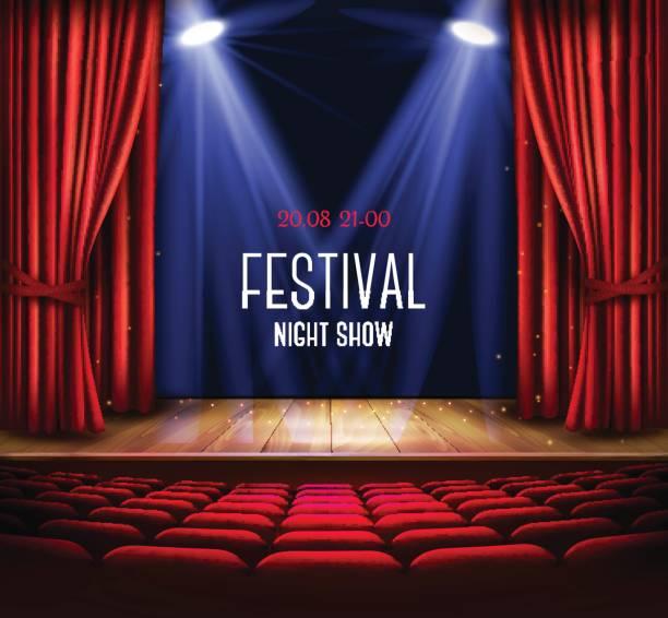 illustrations, cliparts, dessins animés et icônes de une scène de théâtre avec un rideau rouge et un projecteur. - enluminure bordure