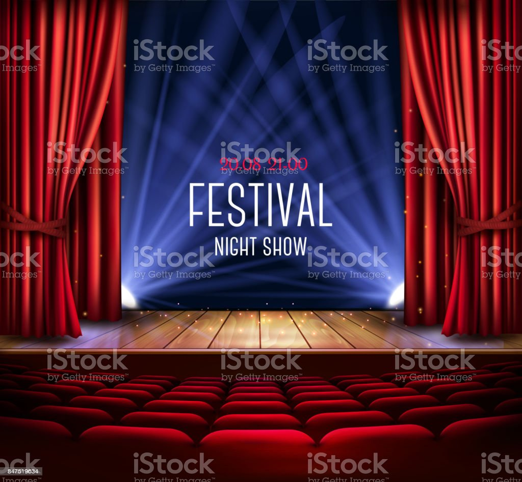A theater stage with a red curtain and a spotlight. vector art illustration