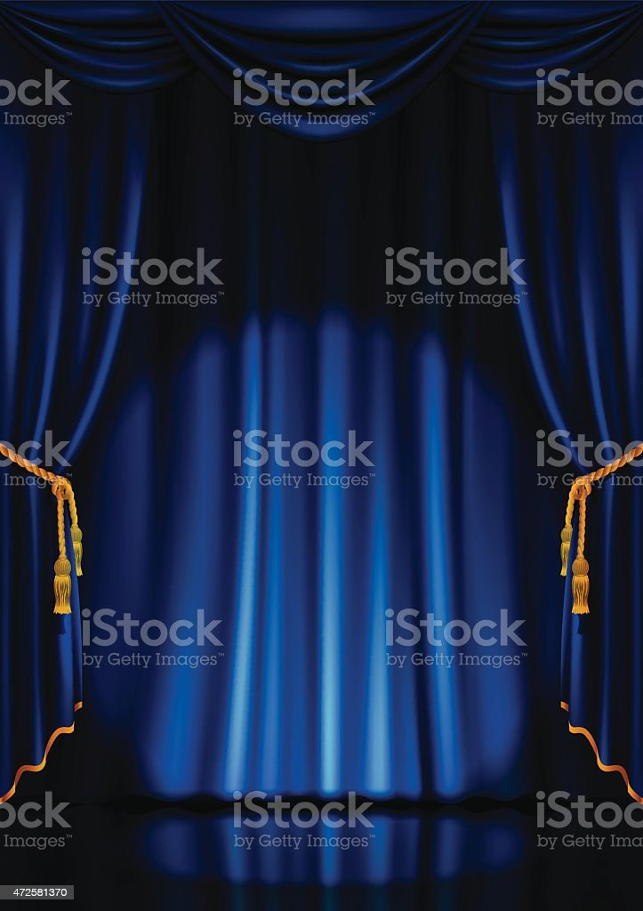 Theater stage with blue curtains. vector art illustration