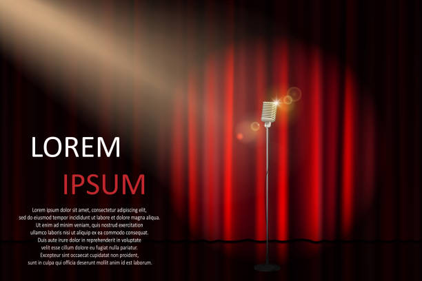 ilustrações de stock, clip art, desenhos animados e ícones de theater stage with concert microphone and spotlight. poster for concert, party, theater, circus or cinema background. vector illustration - palco
