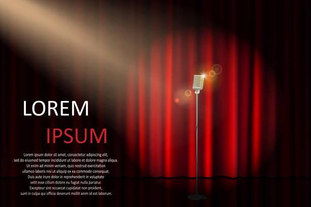 コンサート用のマイクとスポット ライト劇場の舞台。コンサート、パーティー、劇場、サーカスや映画の背景のポスター。ベクトル図 - ステージ点のイラスト素材/クリップアート素材/マンガ素材/アイコン素材