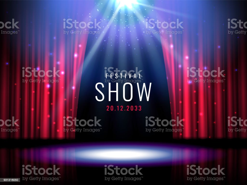 Theater stage with red curtain and spotlight Vector festive template with lights and scene. Poster design for concert, theater, party, dance, event, show. Illumination and scenery decoration royalty-free theater stage with red curtain and spotlight vector festive template with lights and scene poster design for concert theater party dance event show illumination and scenery decoration stock illustration - download image now