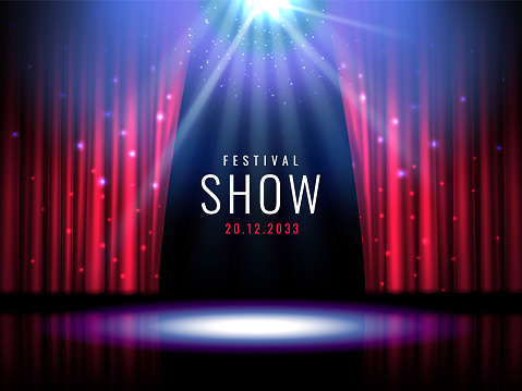 Theater stage with red curtain and spotlight Vector festive template with lights and scene. Poster design for concert, theater, party, dance, event, show. Illumination and scenery decoration