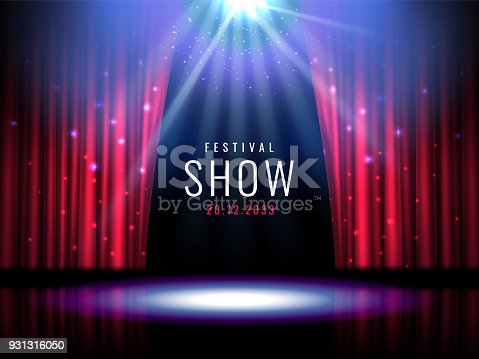 istock Theater stage with red curtain and spotlight Vector festive template with lights and scene. Poster design for concert, theater, party, dance, event, show. Illumination and scenery decoration 931316050
