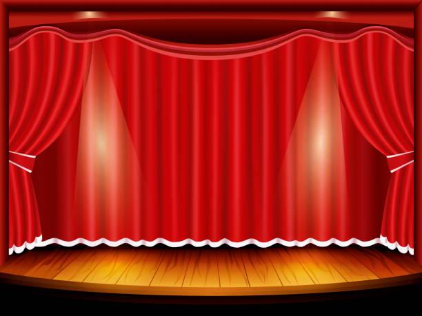 illustrazioni stock, clip art, cartoni animati e icone di tendenza di theater stage with red curtain and spotlight, vector - sipario