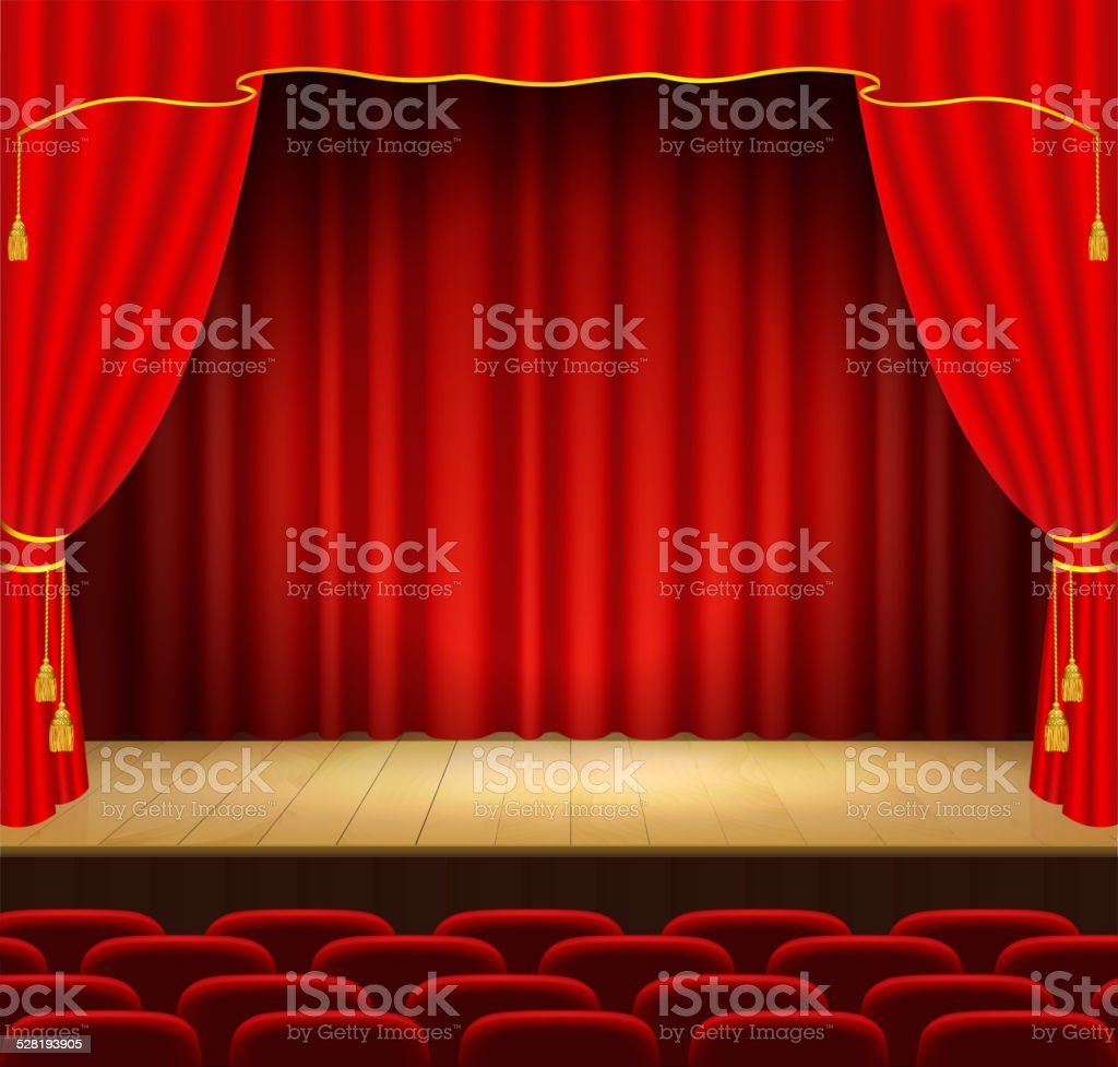 Theater stage with red curtain vector art illustration