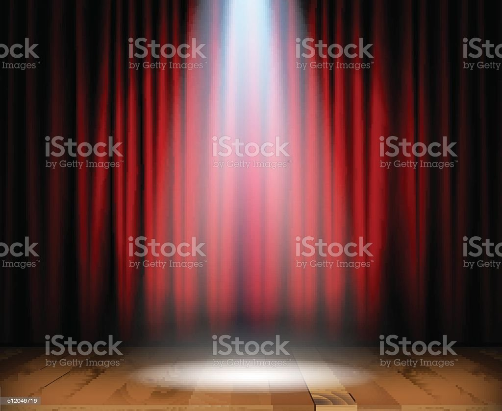 Theater stage with wooden floor vector art illustration