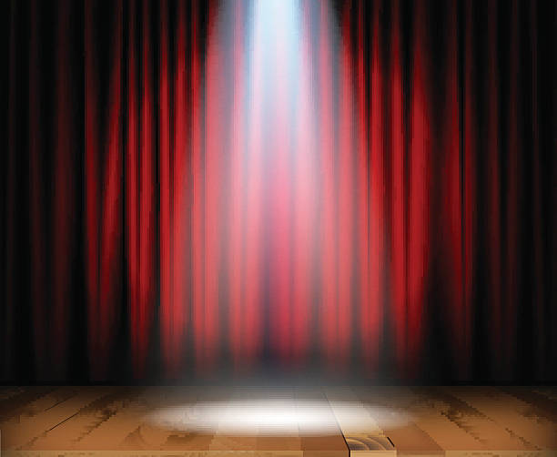 Theater stage with wooden floor Theater stage with wooden floor and red curtain and a spotlight in center. Vector illustration premiere event stock illustrations
