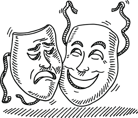 Theater Symbol Face Mask Drawing