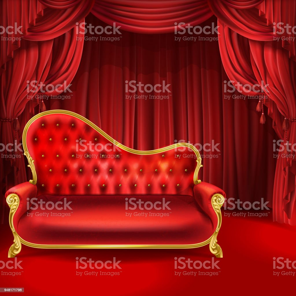 Superb Theater Vector Concept Red Sofa Scene Curtains Stock Camellatalisay Diy Chair Ideas Camellatalisaycom