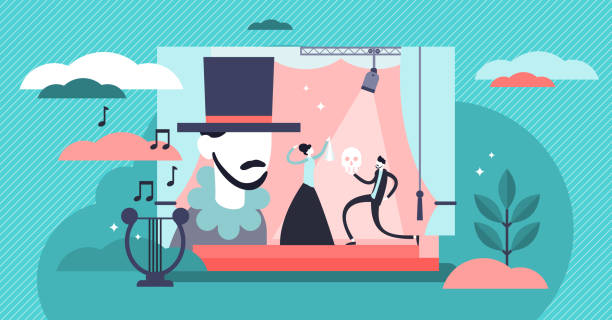 stockillustraties, clipart, cartoons en iconen met theater vector illustratie. vlakke uiterst kleine stadiumprestaties personen concept. - acteur