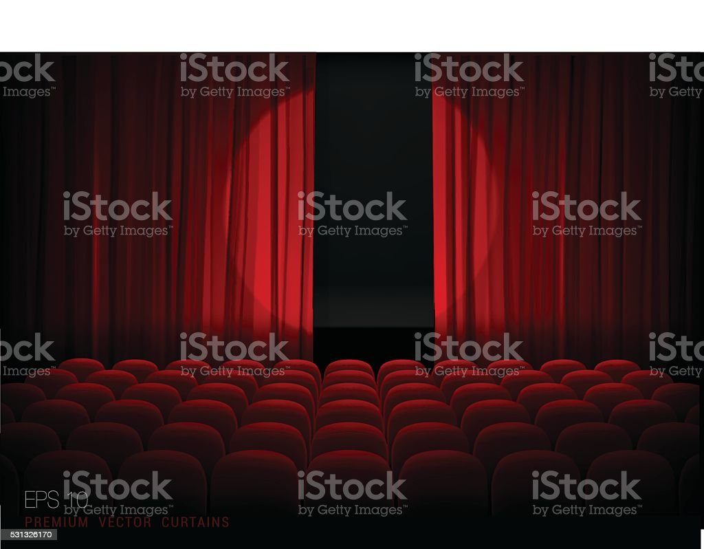 Theater  with red curtains and spotlights vector art illustration