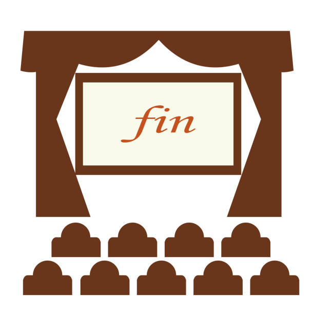 Theater with screen and seats vector art illustration