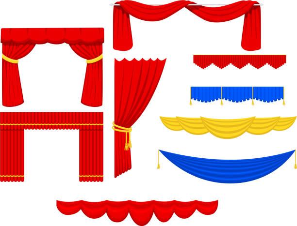 theater szene blind vorhang bühne stoff textur leistung innen tuch eingang hintergrund isoliert vektor-illustration - stoffrollos stock-grafiken, -clipart, -cartoons und -symbole