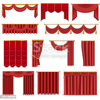 Theather scene red blind curtain stage fabric texture isolated on a white background. Red theater curtain illustration