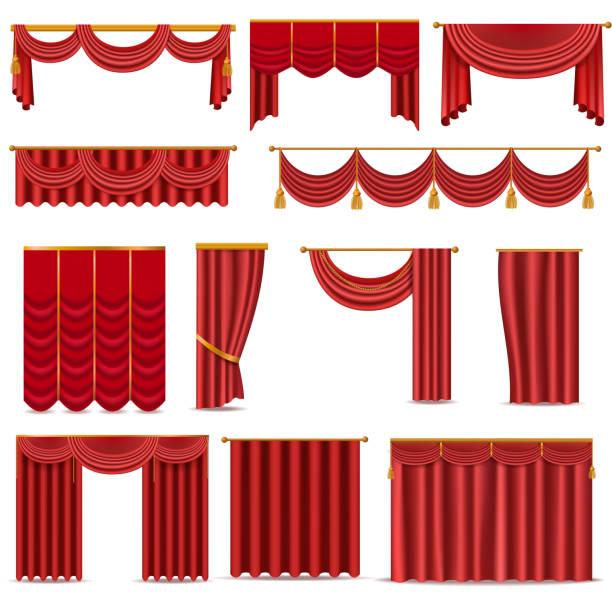 theater szene rot blinde vorhang bühne stoff isoliert auf einem weißen hintergrund illustration - stoffrollos stock-grafiken, -clipart, -cartoons und -symbole