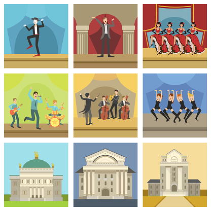 Theatre Buildings And Stage Perfomances Icons