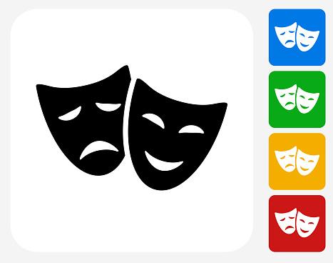 Theatre Comedy and Tragedy Icon Flat Graphic Design