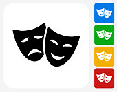 Theatre Comedy and Tragedy Icon Flat Graphic Design